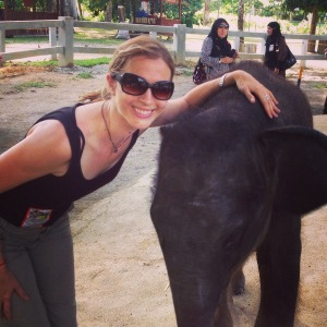 Brianne with an elephant