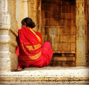 woman in red sari